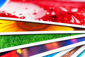 Colorful printed card pieces